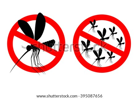 Stop mosquito. Forbidden swarm mosquitoes. Emblem against virus Zika. Emblem against malaria. Red forbidden sign. Ban flying Bloodsucker insect mosquito - stock vector