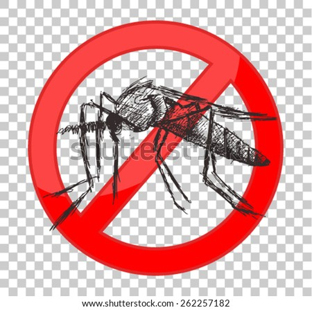 stop mosquito sign - stock vector