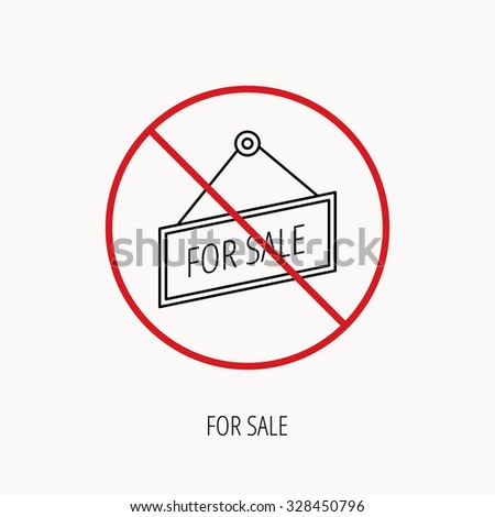Stop or ban sign. For sale icon. Advertising banner tag sign. Prohibition red symbol. Vector - stock vector