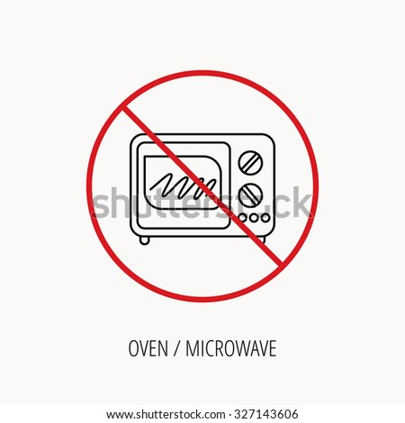Stop Or Ban Sign Microwave Oven Icon Kitchen Appliance