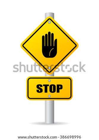 Stop pole road sign, vector illustration isolated on white background - stock vector