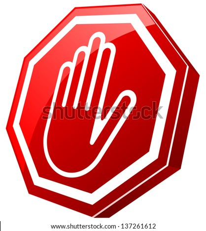 Stop Red Glossy Hand