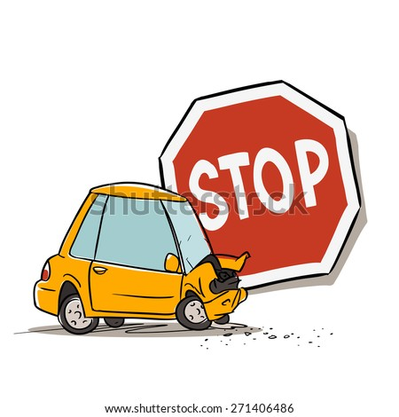 Stop sign and car accident isolated on white  - stock vector