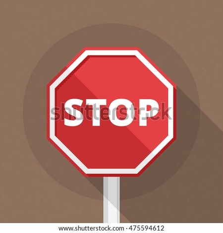 Stop sign, flat design, vector eps10 illustration