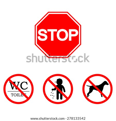 Stop sign. Set: toilet, smoking, trash - stock vector