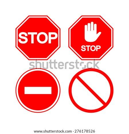 Stop sign. Vector set - stock vector