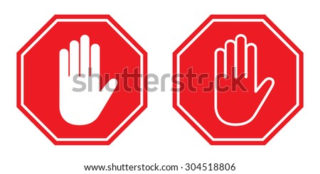 Stop sign with hand , Vector illustration
