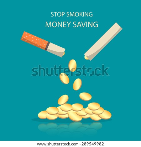 Stop smoking , money saving. - stock vector