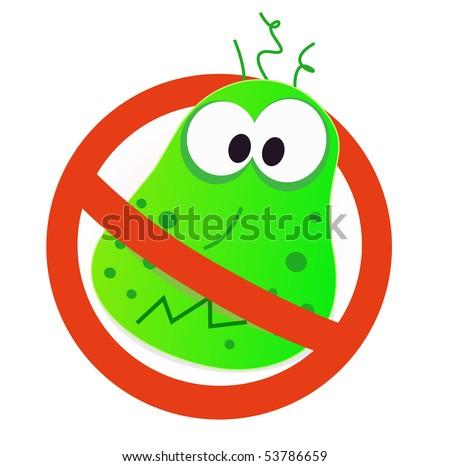 Stop virus - green virus in red alert sign. Stop virus warning sign. Vector illustration of germ in red alert circle. - stock vector