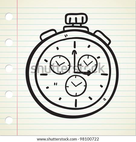 stopwatch doodle - stock vector
