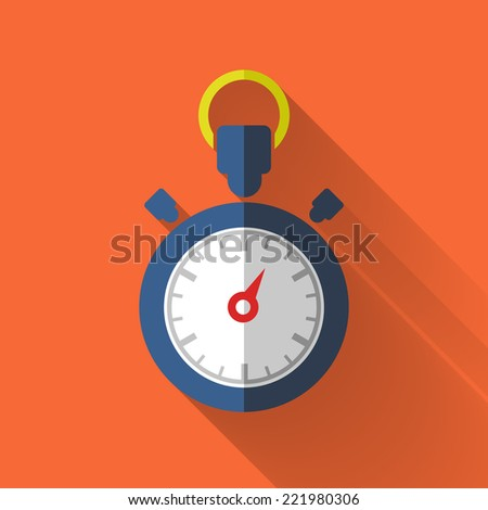 stopwatch icon in colorful flat design style  - stock vector