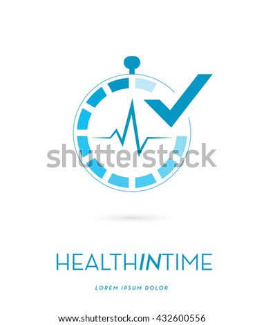 STOPWATCH INCORPORATED WITH A HEARTBEAT AND A CHECK SYMBOL , VECTOR LOGO / ICON .  - stock vector