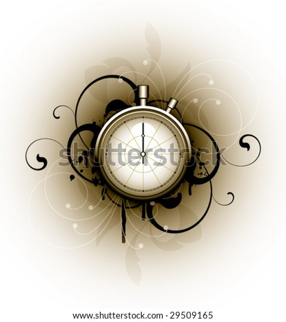 stopwatch on floral background - stock vector