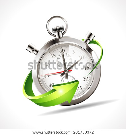 Stopwatch - speed up time - stock vector