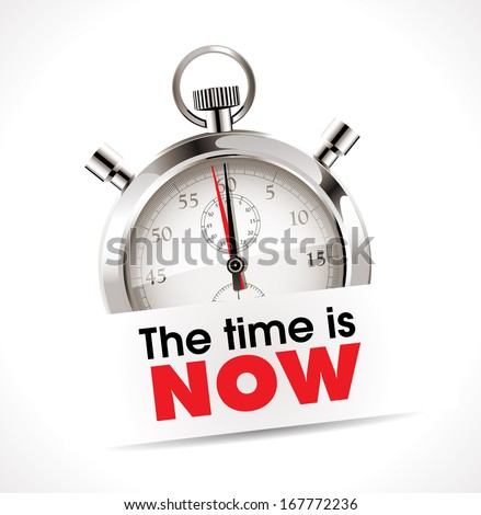 Stopwatch - the time is now - stock vector