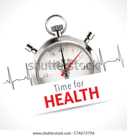 Stopwatch - Time for health care concept - stock vector
