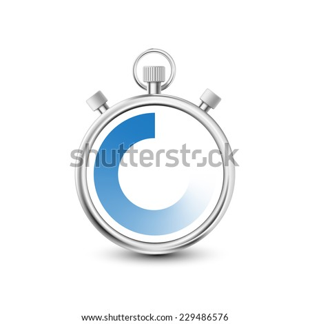 Stopwatch to measure time intervals - stock vector
