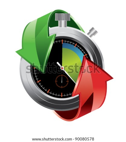 Stopwatch with arrows vector illustration - stock vector