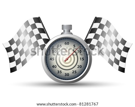 Stopwatch with checkered racing flags, vector