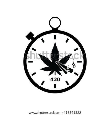 Stopwatch with marijuana leaf and 420 symbol . vector illustration - stock vector
