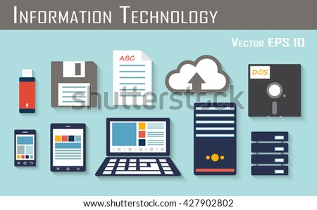 storage and electronic device ( flashdrive or thumbdrive , floppy disc , paper , cloud server , DOS , smartphone , tablet , laptop , harddrive server ) - stock vector