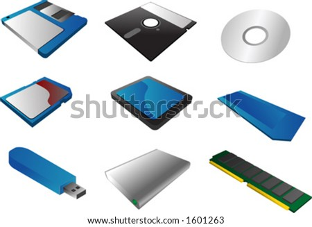 "Storage media, vector illustrations, 3d isometric style: 3 1/2"" floppy diskette, 5 1/4"", cd, sd card, cf card, memory stick, usb pendrive, external hard disk, ram - stock vector"