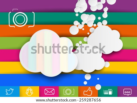 Storage pictures cloud design template. Social networks and photographers.Colorful vector illustration  with clouds and drops splashes, social netork icons.