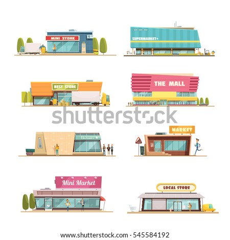 Store buildings set with mall and local shop symbols cartoon isolated vector illustration