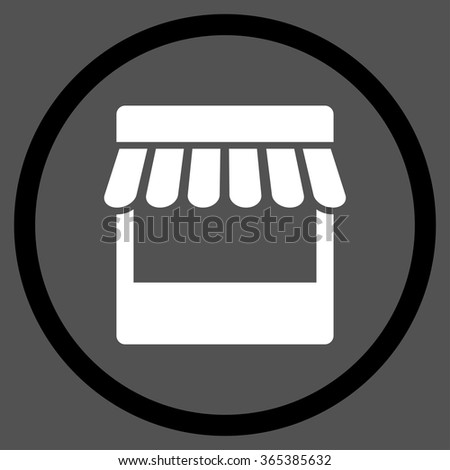 Store Facade vector icon. Style is bicolor flat circled symbol, black and white colors, rounded angles, gray background. - stock vector