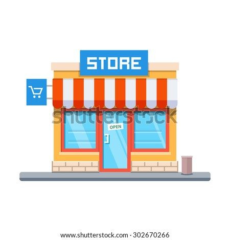 Store facade. Vector illustration in flat style - stock vector
