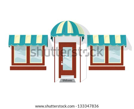 Store Front Door and Windows. Vector illustration of a shop door and windows. It was created in Adobe Illustrator and was saved out as an .eps 10 file. Some transparencies were used. - stock vector