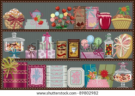 Store of sweets and chocolate - stock vector