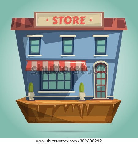 Store or shop facade. Flat design vector illustration - stock vector