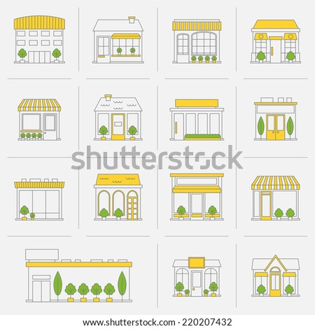 Store shop business buildings flat line icon set isolated vector illustration - stock vector