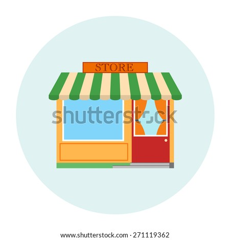 Store, shop, business vector illustration. Building for market, retail, sale, boutique. Facade, storefront design, commercial architecture. City, town flat street. Green, orange colors. - stock vector
