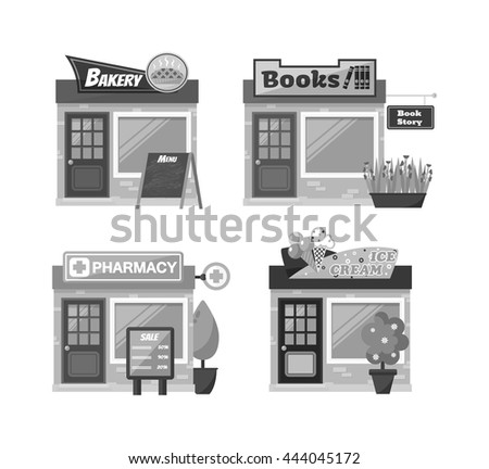 Store shop front window buildings icon set flat isolated vector illustration. Shop front retail building door and street facade market shop front. Shop front urban restaurant architecture exterior. - stock vector