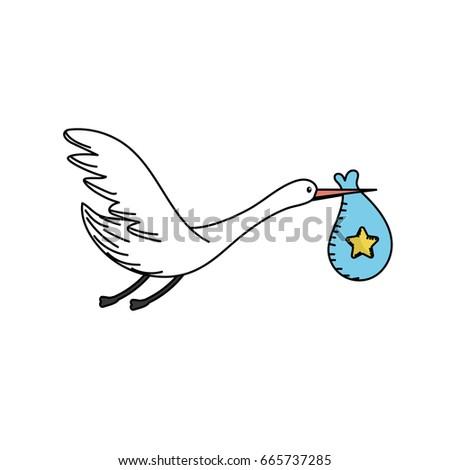 stork bird baby bag stock vector 665737285 shutterstock