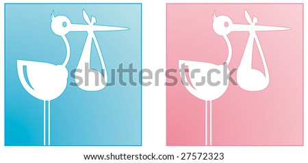 Stork carrying baby boy and girl - stock vector
