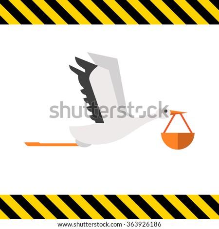 Stork carrying bundle  - stock vector