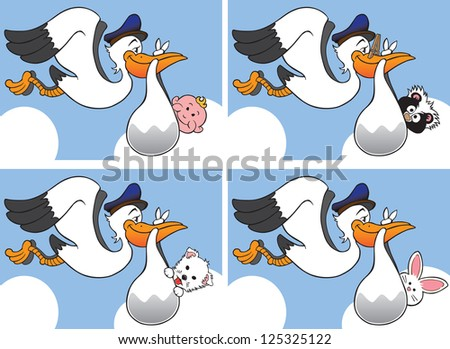 Stork carrying four different babies - stock vector