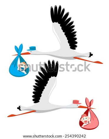 Stork delivering a newborn baby girl and boy - stock vector
