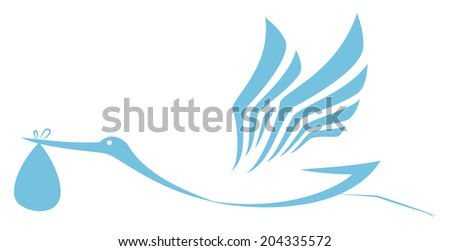 Stork delivering icon  - stock vector