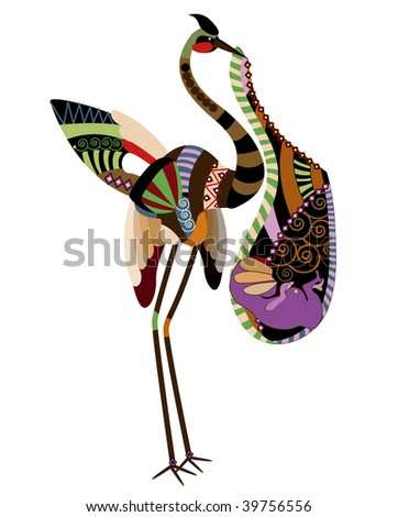 stork who brought a child (here it is - the secret birth of children!) - stock vector