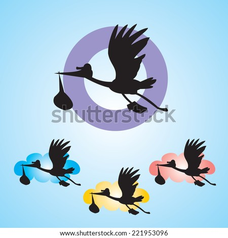 Stork with baby isolated on blue background - vector illustration - stock vector