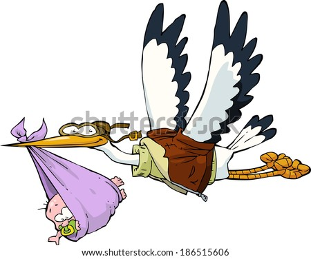 Stork with baby on white background vector illustration - stock vector