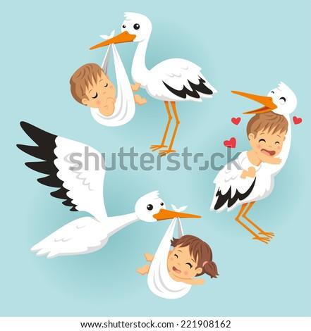 stork with baby vector cartoon illustration - stock vector