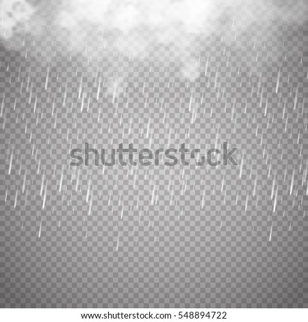 Storm and Lightning with rain and white cloud isolated on transparent background. Vector