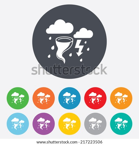 Storm bad weather sign icon. Clouds with thunderstorm. Gale hurricane symbol. Destruction and disaster from wind. Insurance symbol. Round colourful 11 buttons. Vector - stock vector