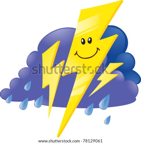 storm cloud and lightnings - stock vector
