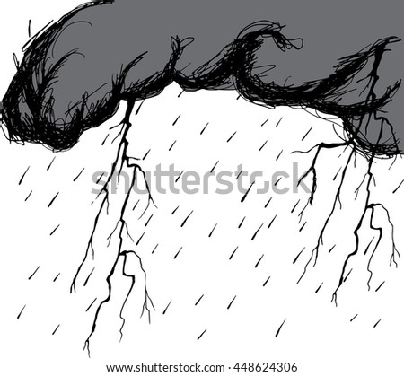 Storm clouds with raindrops and thunderbolt flashes. Hand drawn vector illustration. - stock vector